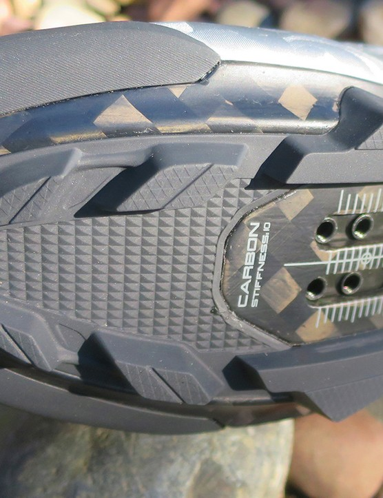 sole of silver clipless road cycling shoe