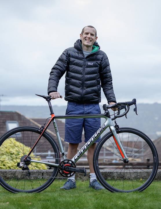 Andrew Feather with his Cannondale SuperSix Evo road bike