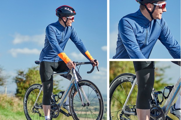 autumn outfit - jersey, bib short and knee warmers from btwin