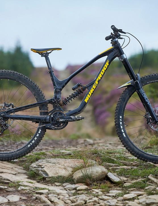 side view of black full suspension mountain bike