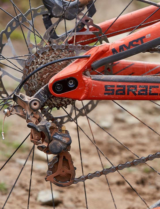 Shimano Zee gears on a saracen full suspension mountain bike