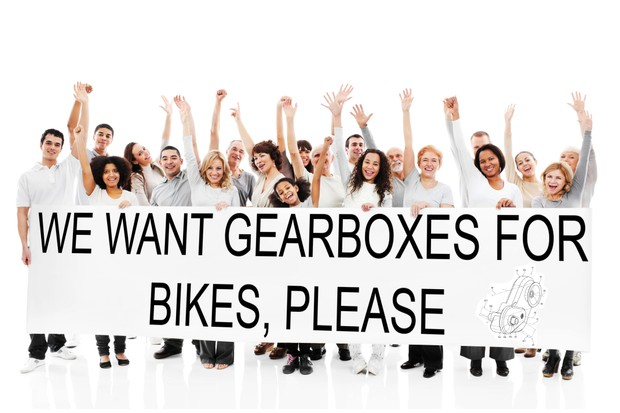 An artist's impression of a small but vocal crowd that want a gearbox solution for bikes