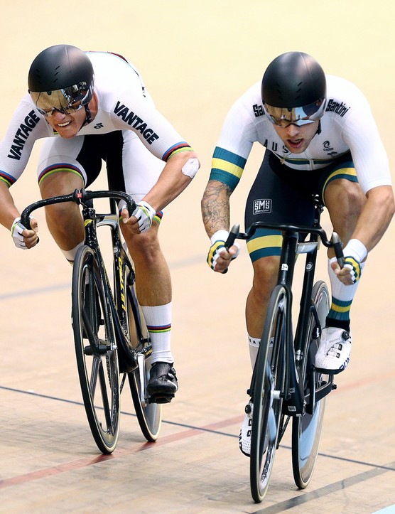 The Bastion Madison Handlebar in use at the 2020 Oceania Track Cycling Championships