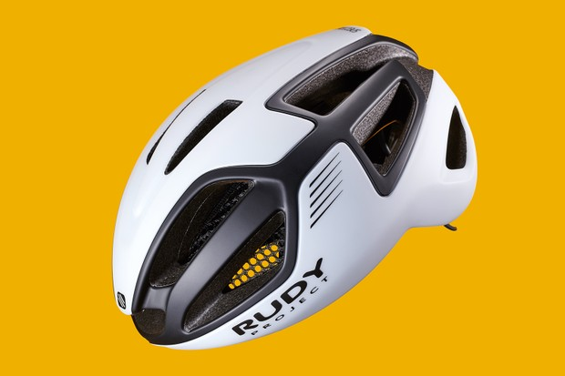white vented aero helmet with Rudy RSR 10 retention system