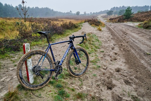 Zdenek Stybar's custom Specialized Crux CX race bike in a muddy landscape