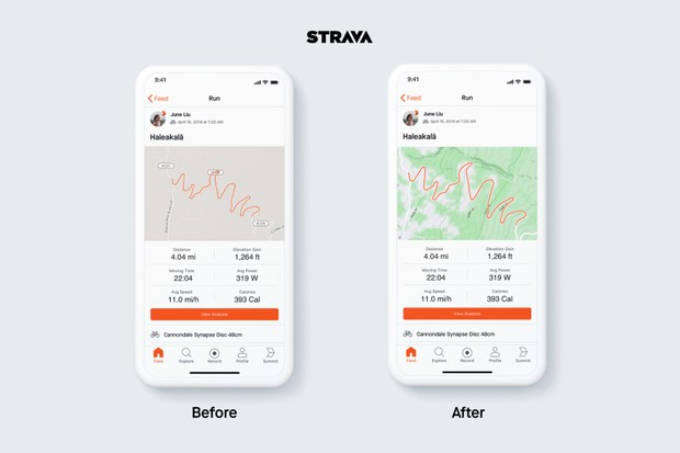 The Strava static map now shows elevation