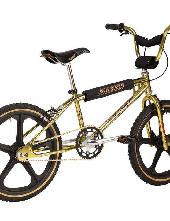 Gold BMC bike.