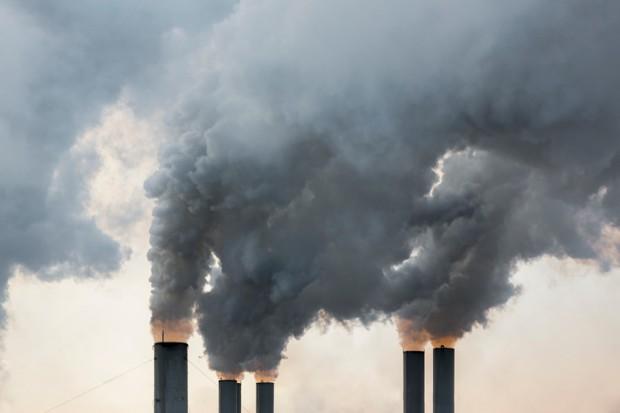 Smoke emerging from chimneys