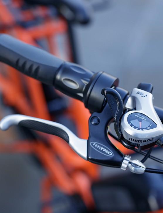 Shimano thumb shifter alongside brake lever on Rad Power RadWagon electric cargo bike