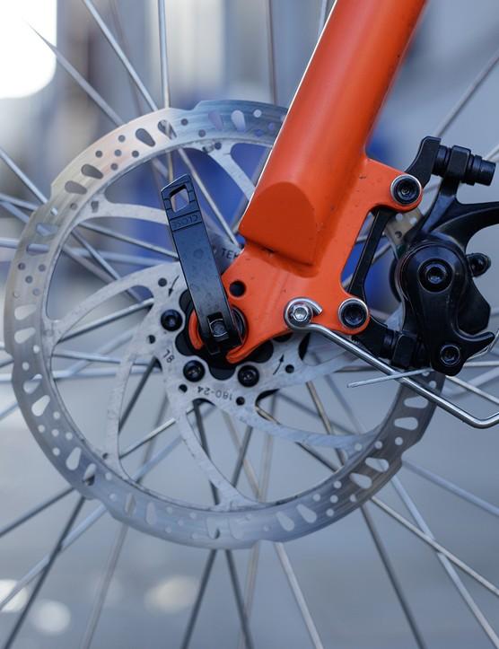 Disc brake rotor on the RadWagon electric cargo bike