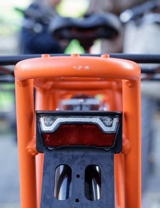 Rear light which also acts has a 'Brake Light Indicator Functionality' on electric cargo bike