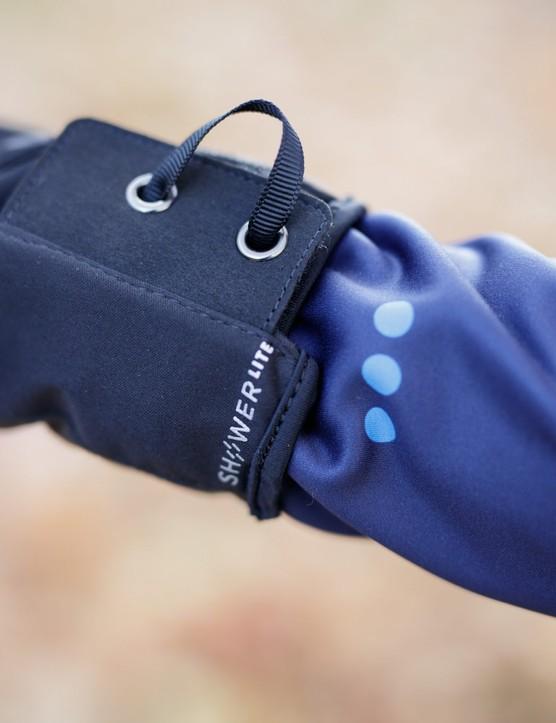 ShowerLite logo on cuff of glove
