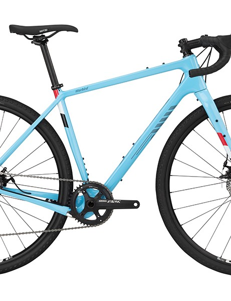 Pack shot of Salsa Warbird Apex 1 gravel bike in light blue