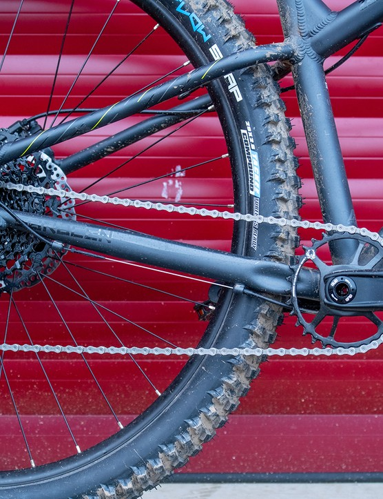 Sram's Stylo cranks, Sram's NX Eagle shifter, cassette and rear derailleur