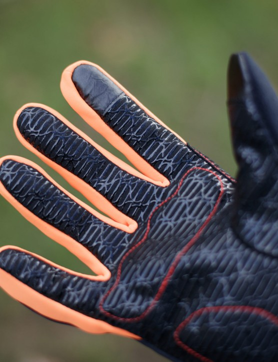 Inside of glove fingers, with touch-screen index finger