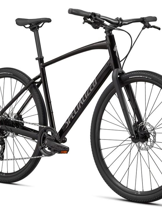 Black hybrid bike