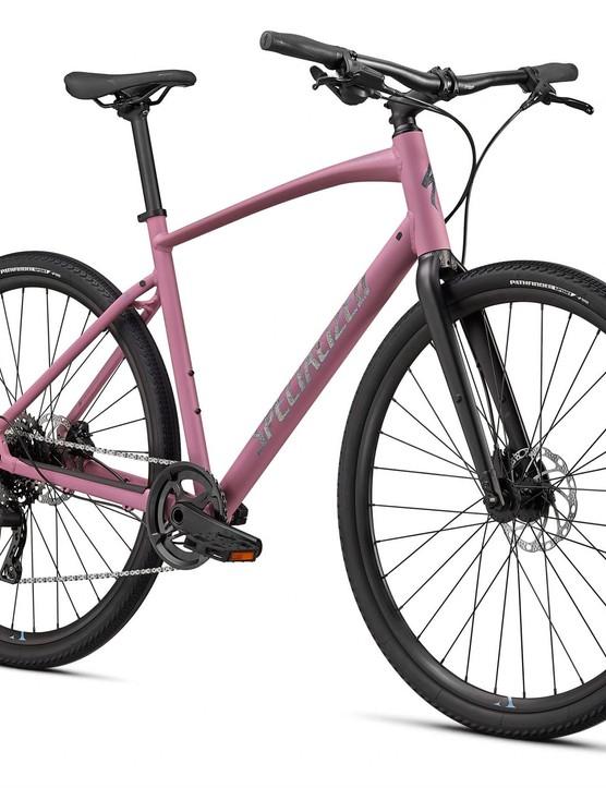 Pink hybrid bike