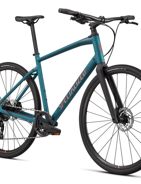 Turquoise hybrid bike