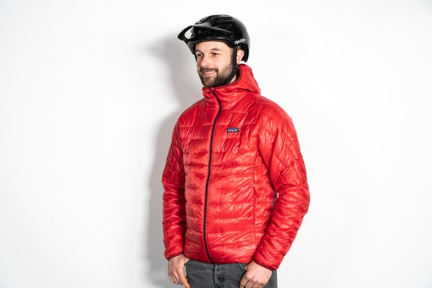 Patagonia Micro Puff Hoody worn by male wearing a Troy Lee Designs cycling helmet