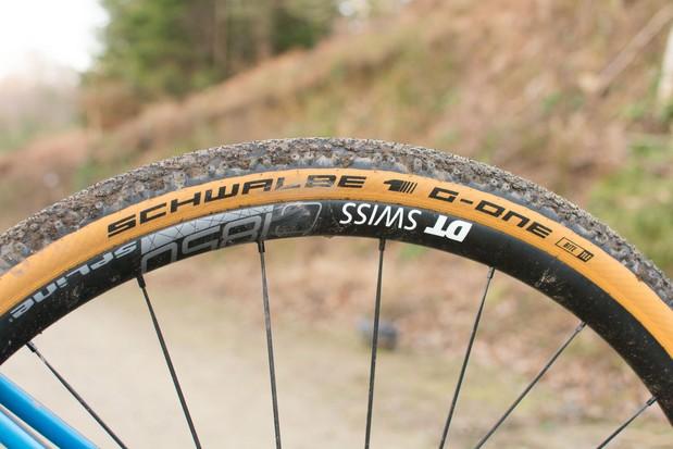 Tan wall gravel tyre on wheel