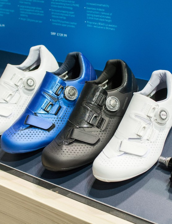 Four left Shimano road shoes