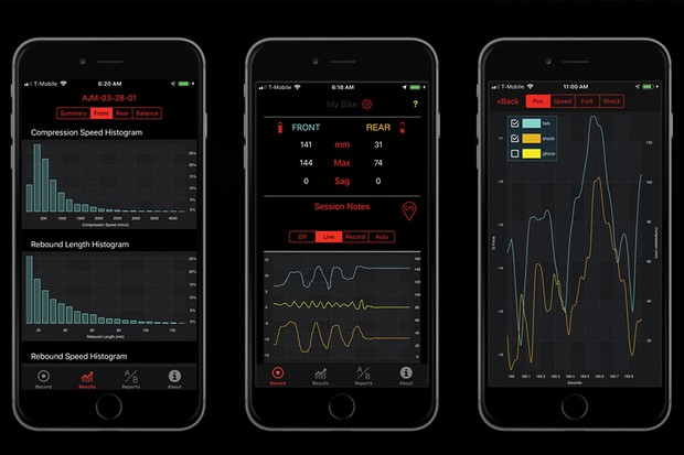 Motion Instruments' app displaying data