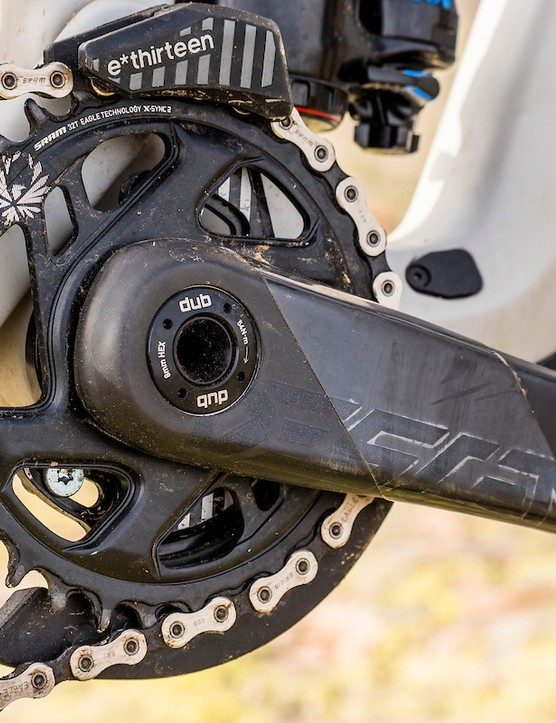 Carbon Truvativ Descendants cranks on full suspension mountain bike