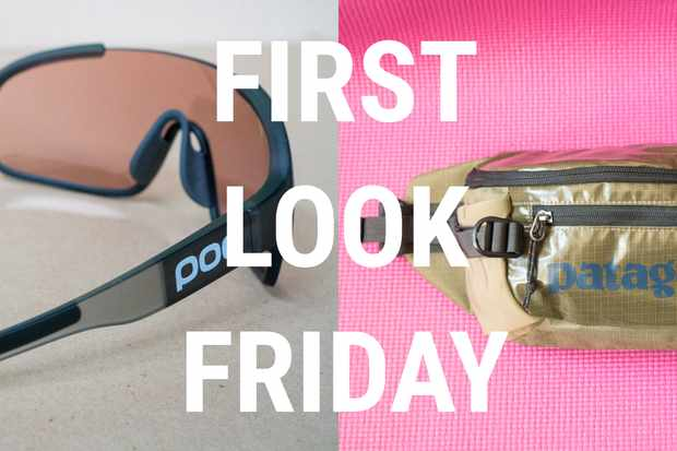 POC riding glasses, a bum bag from Patagonia, a smart trainer from Xplova and mirrored Smith goggles