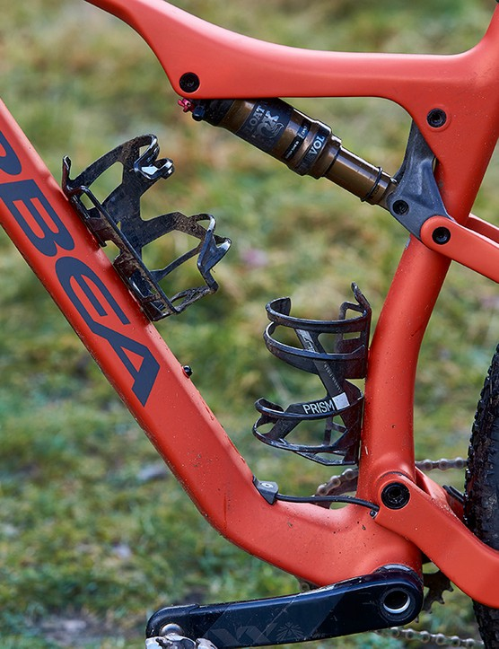 Pair of bottle cages on full suspension mountain bike