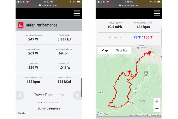 SRAM AXS Web Tool Ride Data