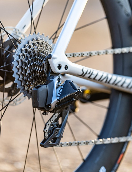 SRAM RED eTAP AXS, 12-speed rear mech and SRAM RED XG-1290 cassette on road bike