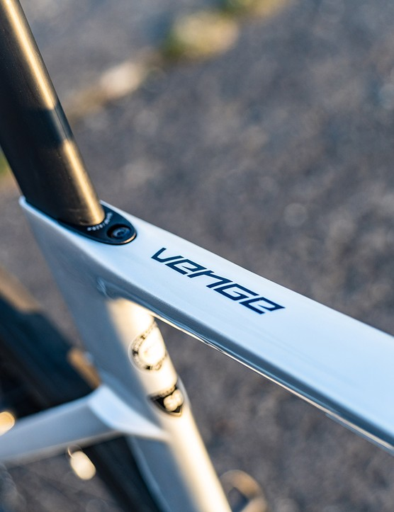 Venge logo on top tube of the Specialized S-Works Venge SRAM eTAP road bike