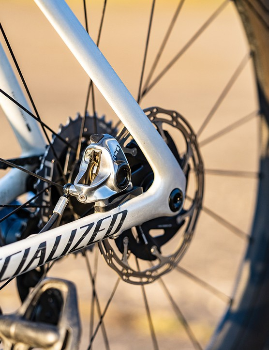 SRAM Red hydraulic disc brake and rotor on the Specialized S-Works Venge SRAM eTAP road bike