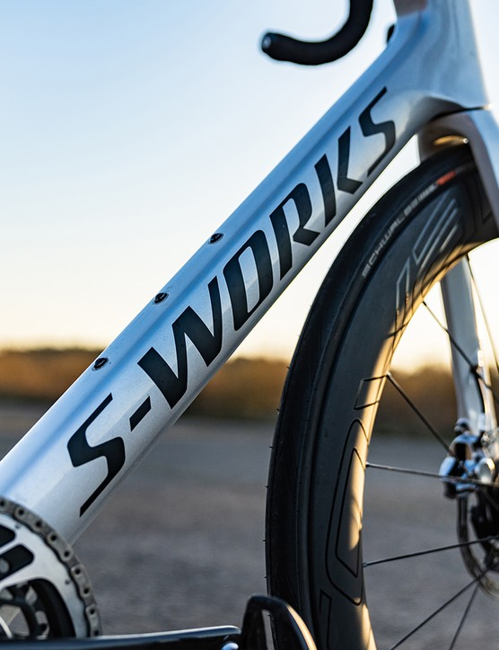 S-Works logo on the Specialized S-Works Venge SRAM eTAP road bike
