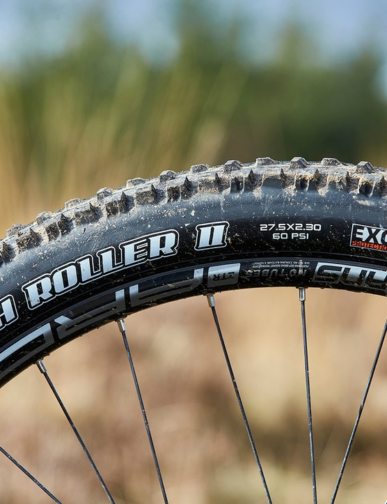 Maxxis High Roller tyres on full suspension mountain bike