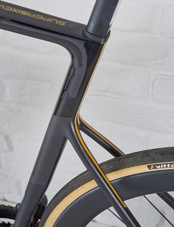 Vittoria Corsa G+ 25c tyres on HollowGram Knot SL wheels on the Cannondale SuperSix Disc Evo Di2