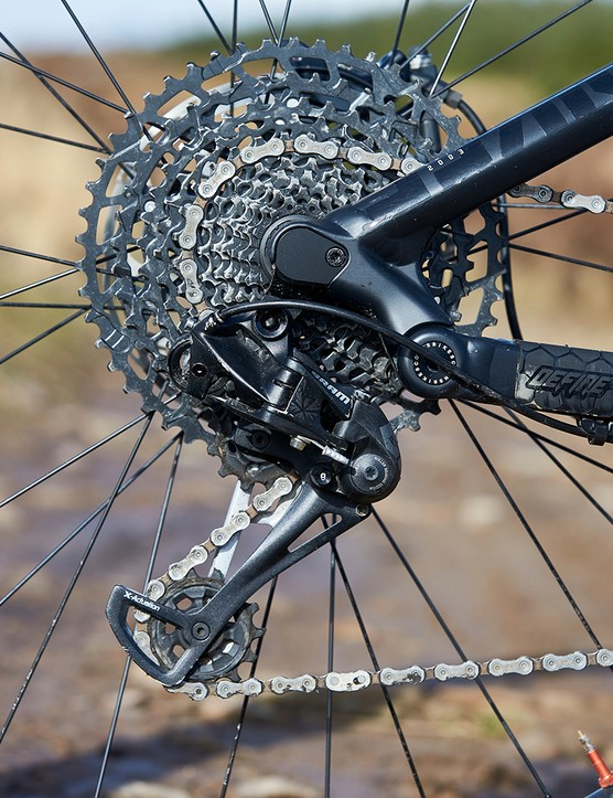 Sram Eagle rear mech on  NS Bikes Define AL mtb. Bike Park Wales, Gethin, Wales. February 2020.
