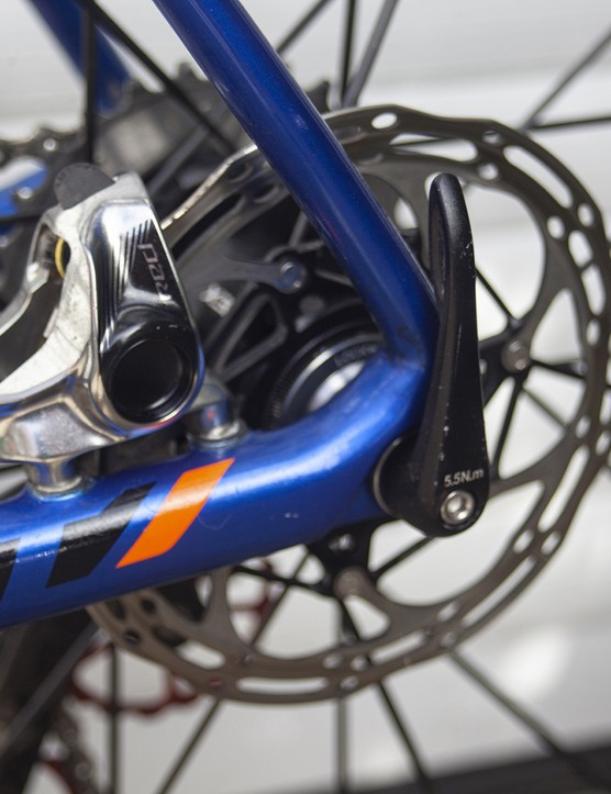 Rear disc brake mount on the 2020 version of the Giant TCR Advanced SL