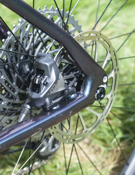 Eagle X01 10-50 cassette and 160mm rear rotor on the Cannondale Topstone Carbon Lefty