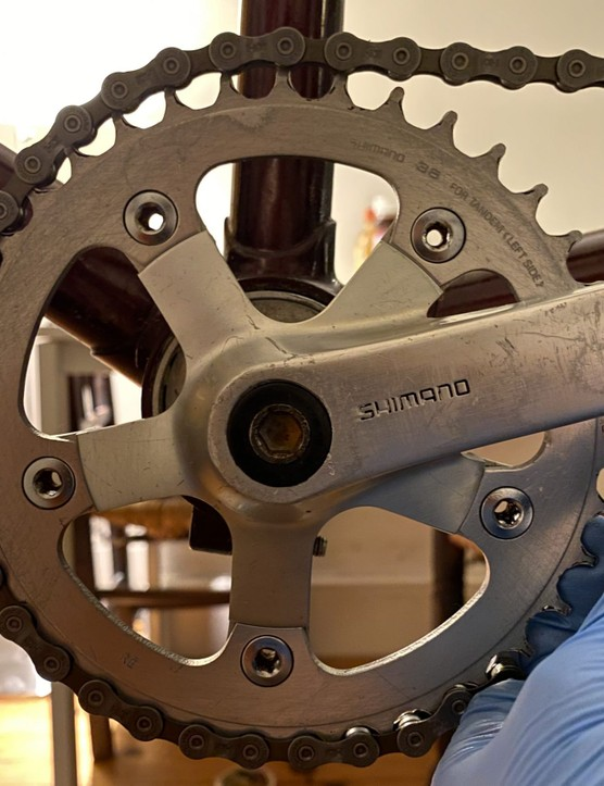 worn timing chainring on tandem