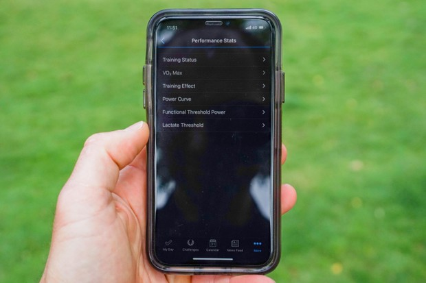 Garmin Connect iPhone app on an iPhone X