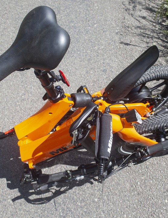 Pack shot of the MiRiDER One ebike in its folded position