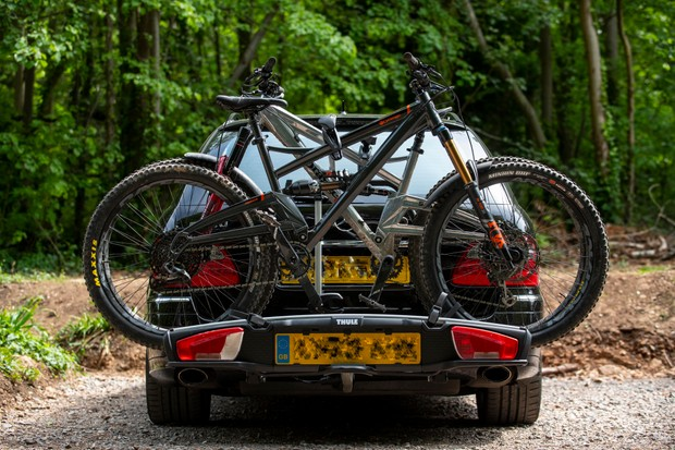 Thule VeloSpace XT3 bike rack with two bikes loaded