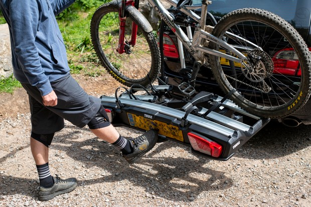 Thule VeloSpace XT3 bike rack tilt mechanism loaded with one bike