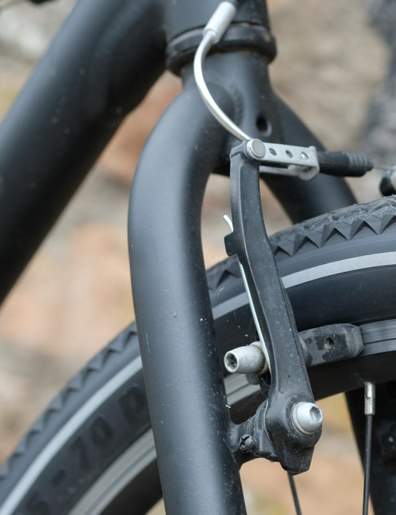 v-brakes on front of bike fork