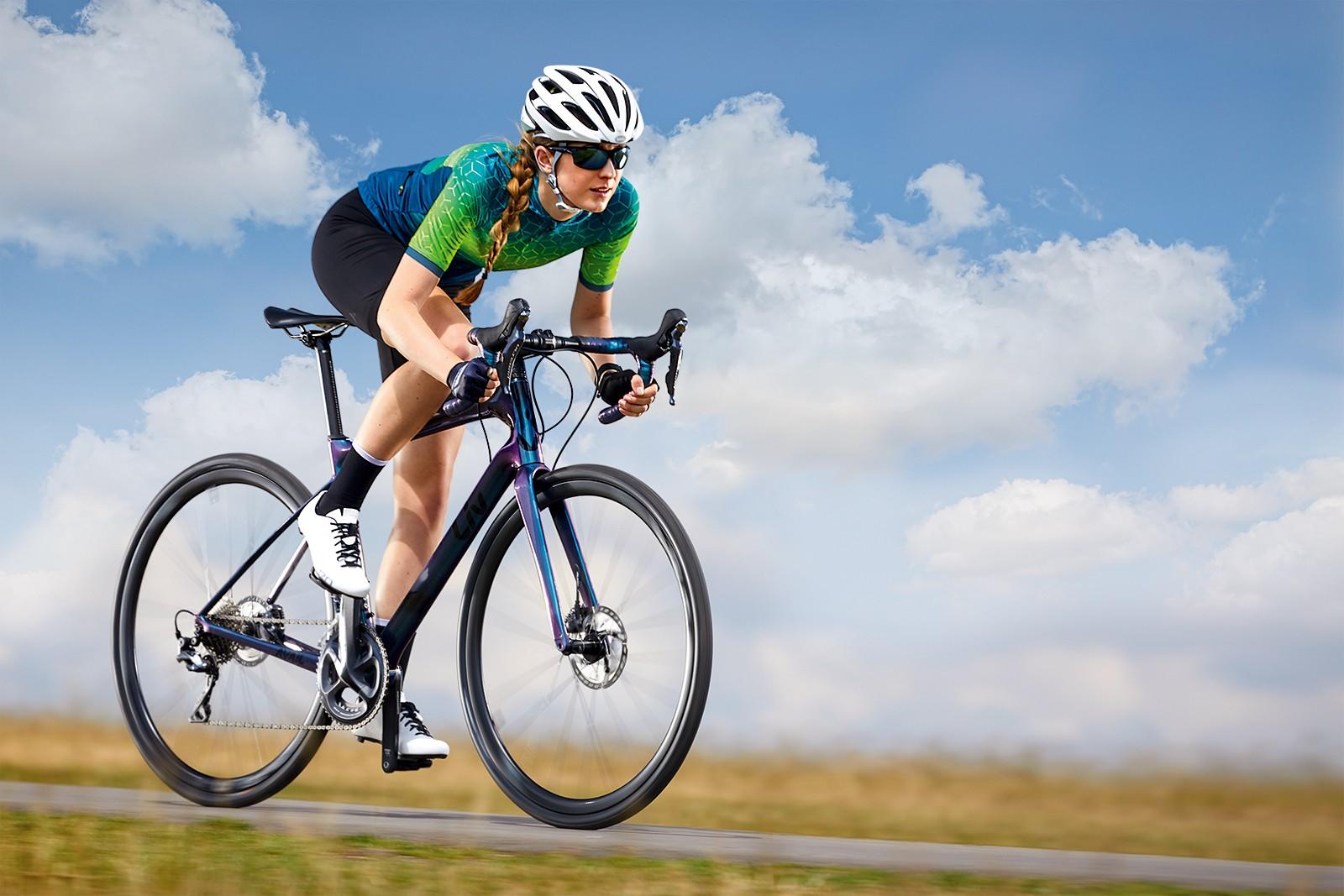 Cyclist riding a Liv Avail Advanced Pro 2 woman's road bike