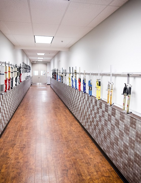 RockShox hall of fame containing 31 years of forks, and counting
