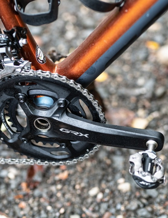 Shimano GRX double chainset and SPD pedals on a gravel bike