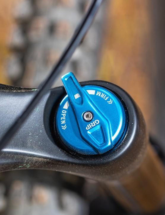 A Fox 36 Rhythm fork on full suspension mountain bike