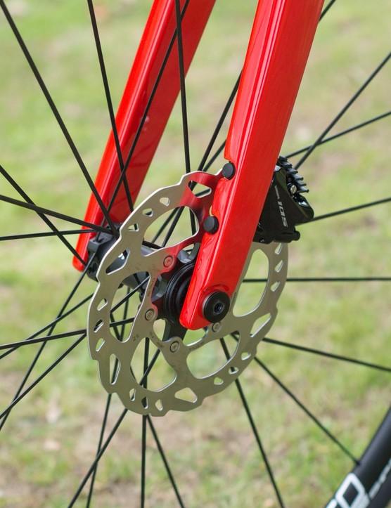 Fork leg and front brake